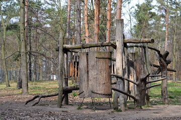 Wooden playground in forrest