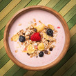 Healthy breakfast - muesli with yogurt and fresh berries