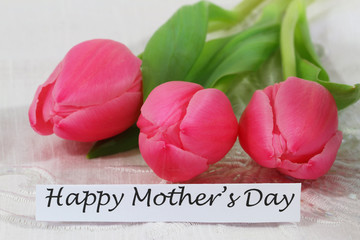 Happy Mother´s Day card with pink tulips
