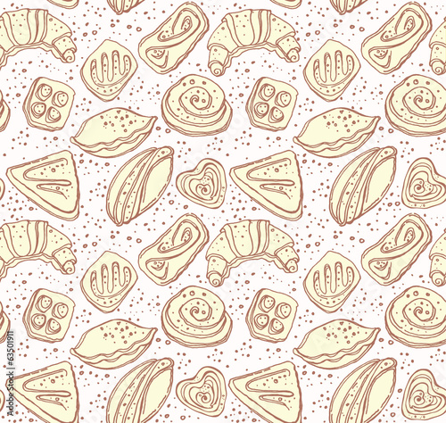 Seamless pattern of tasty pastries.