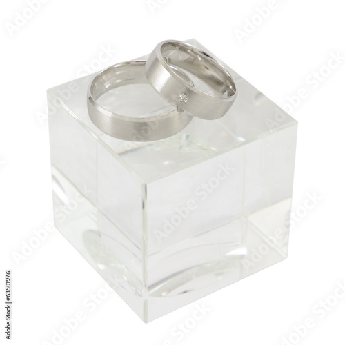 White-Gold rings on glass