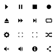 Vector black media player icons set