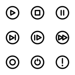 Vector black media buttons icons set