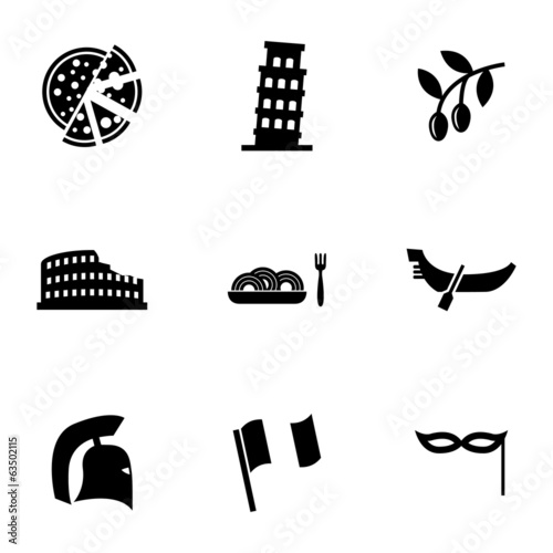Vector black italian icons set