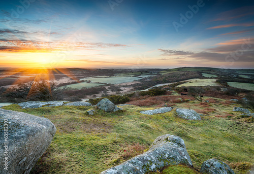 Spring sunrise at Helman Tor near Bodmin in Cornwall