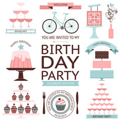 Vector set of birthday celebration or holiday icons isolated on