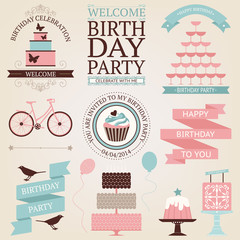 Vector set of birthday celebration or holiday icons in vintage c