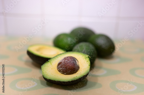 Fresh ripe halved avocado pear
