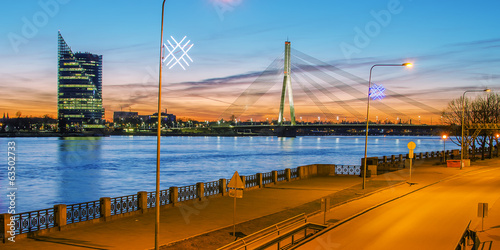 Riga (Latvia)  at night.  The view from Daugava river