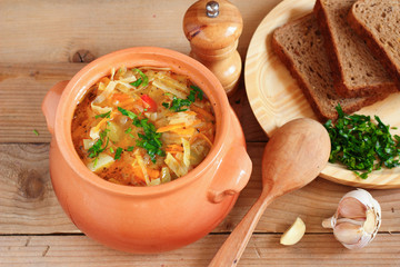 Traditional Russian vegetarian cabbage soup - schi