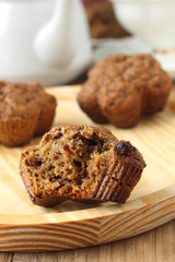 Healthy vegan muffins with poppy seeds and prunes