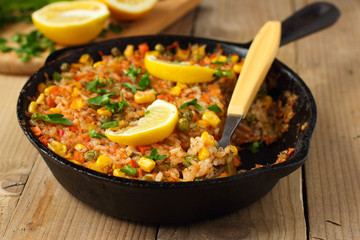 Vegetarian paella with corn