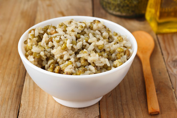 Cooked mung beans with rice