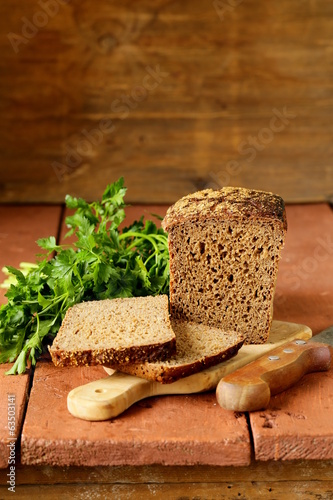 traditional Russian rye bread on a wooden board