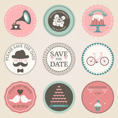 Vector collection of vintage wedding decorative stickers. Retro