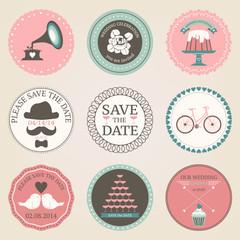 Vector collection of vintage wedding decorative stickers. Retro
