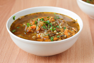 Traditional vegan turkish soup with bulgur and lentils