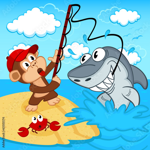 monkey on fishing - vector illustration