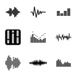 Fototapety Vector black music soundwave icons set