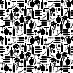 Vector pattern with black Wine illustrations silhouettes.
