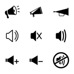 Vector black speaker icons set
