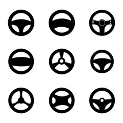 Vector black Steering wheels icons set