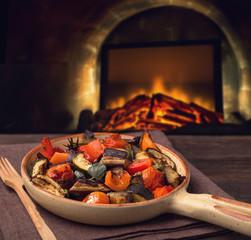 Grilled vegetables on serving pan