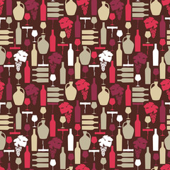 Vector seamless pattern with artistic Wine illustrations on brow