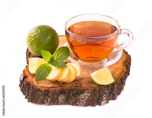 Tea with ginger lime and mint isolated