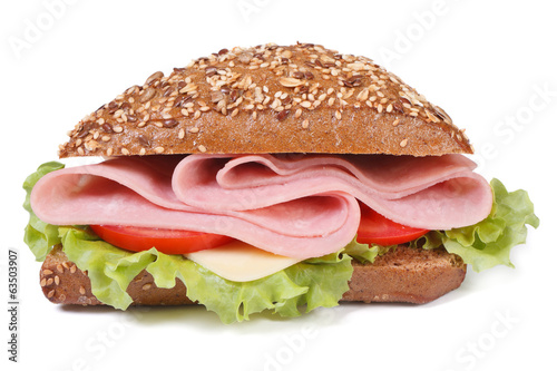 sandwich with ham, cheese, tomatoes and lettuce isolated