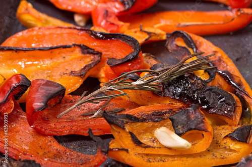 Grilled red sweet pepper