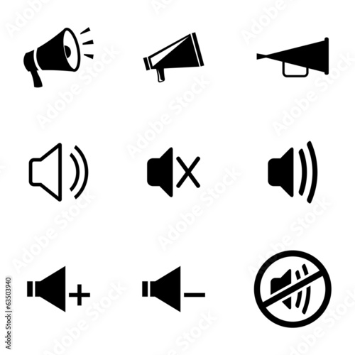 Vector black speaker icons set