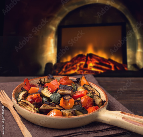 Grilled vegetables on serving pan
