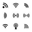 Vector black wireless icons set - 63504104