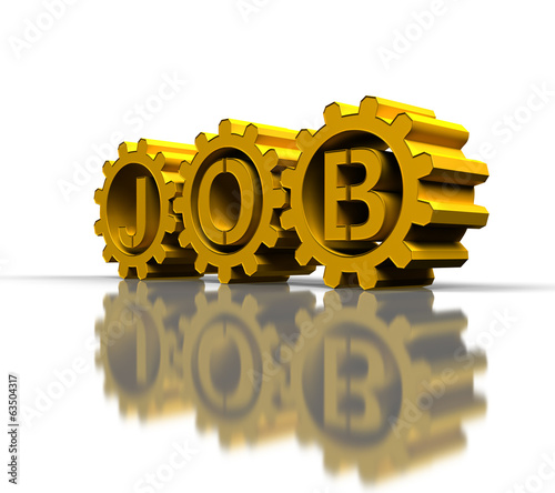gold gears with job text