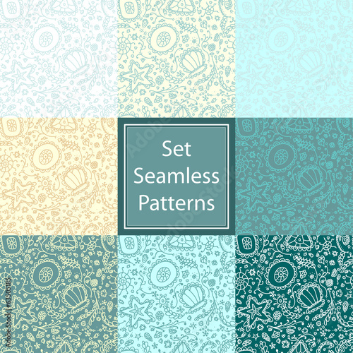 Set Seamless pattern or background with abstract protozoa