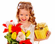 Child with easter flower and gift box.