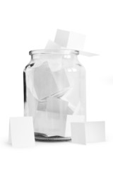 Paper notes with wishes isolated on whiteStock Photo: