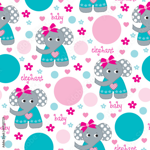baby elephant dots pattern vector illustration