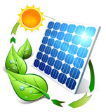 Photovoltaic concept - panel leaves and sun