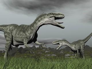 Monolophosaurus roaring - 3D render