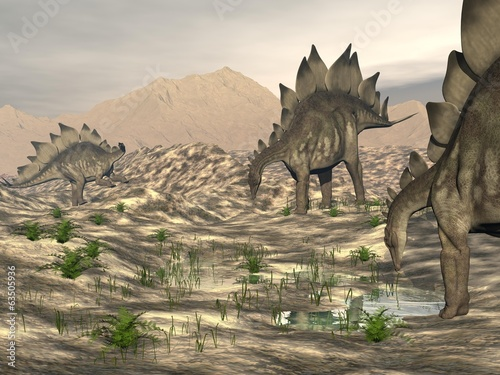 Stegosaurus near water - 3D render
