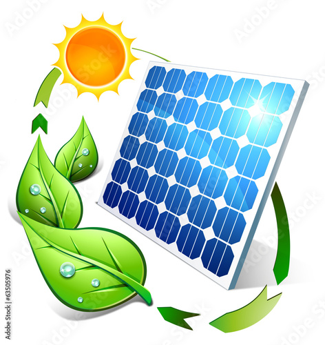 Photovoltaic concept - panel leaves and sun - 63505976
