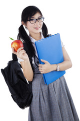 Female highschool student isolated