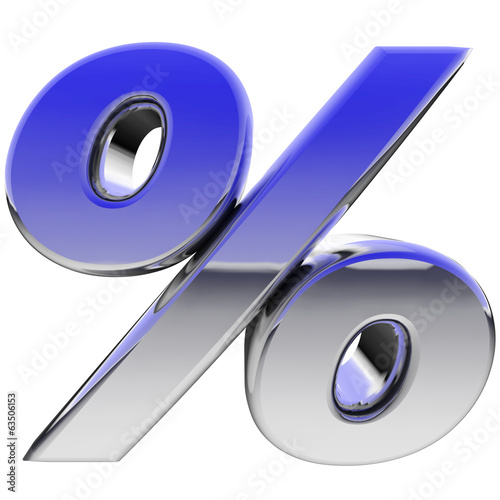 Chrome percent sign with color gradient reflections