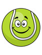 Smiling green cartoon tennis ball