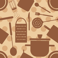 Retro cooking related seamless pattern on dotted background