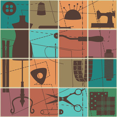 Tiled seamless pattern with sewing and tailoring symbols