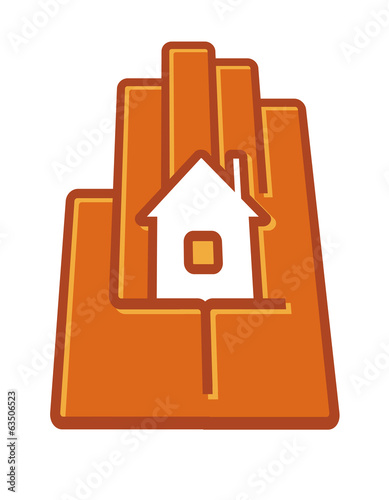 Stylized hand holding a house in the palm