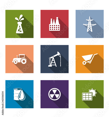 Set of flat industrial icons